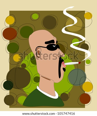 raster illustration design of bald man smoking marijuana
