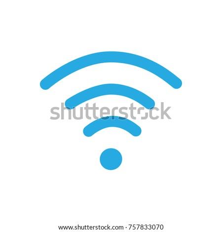 Raster illustration flat design blue wireless icon. Wi-Fi symbol, sign. WiFi