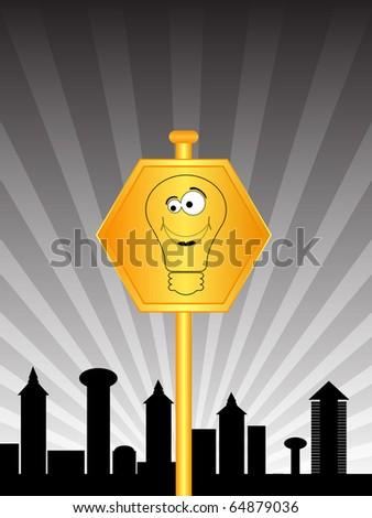 raster illustration happy lightbulb sign for traffic