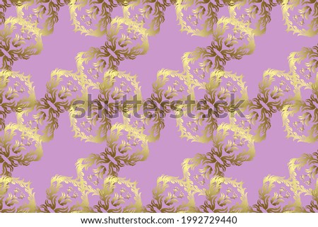 Raster. Illustration in yellow, brown color. Raster cute seamless pattern background. Classical luxury old fashioned damask ornament, royal victorian seamless texture for wallpapers, textile, wrapping