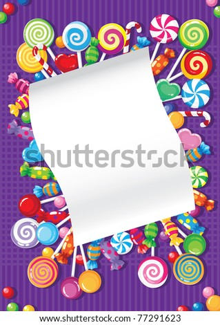 raster illustration of a candy and sweets card