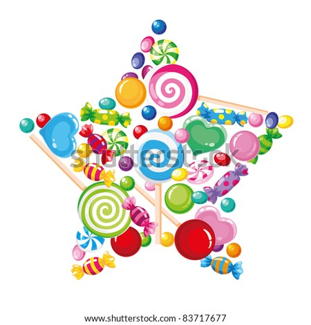 raster illustration of a candy star white