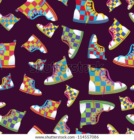Raster illustration of a checked sneaker seamless pattern