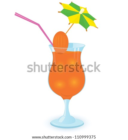 Raster illustration of a cocktail decorated with umbrella toothpick white background