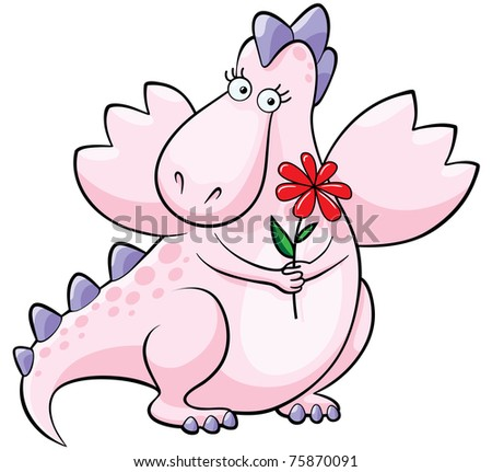 Raster illustration of a cute and coy pink dragon with red flower.