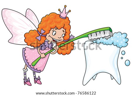raster illustration of a cute tooth fairy