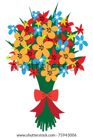 Raster illustration of a festive bouquet of abstract wildflowers with red bow