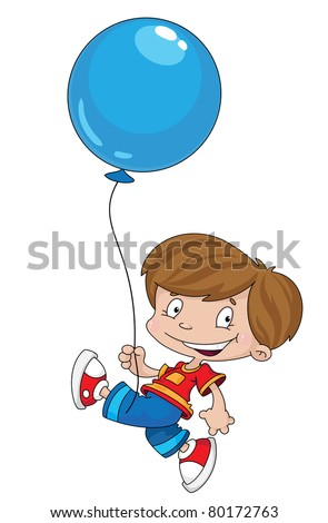 raster illustration of a funny boy with balloon