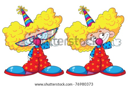 raster illustration of a funny kids clowns