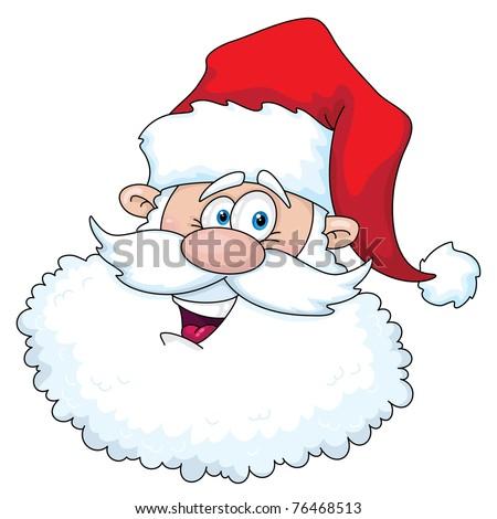 raster illustration of a funny santa head