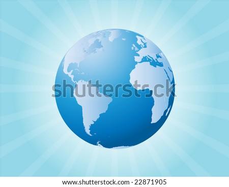 Raster illustration of a globe and sunburst