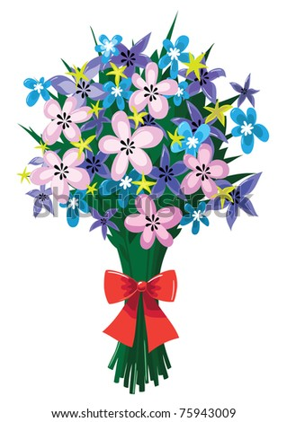 Raster Illustration of a huge bouquet of spring flowers with red bow