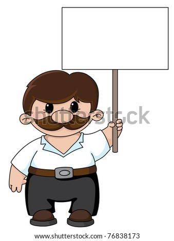 raster Illustration of a man holding a blank sign