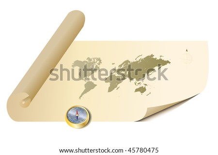 raster - Illustration of a old antique parchment map with a golden compass