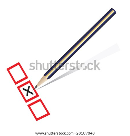 Raster - Illustration of a pencil marking x on piece of paper