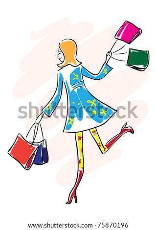 Raster illustration of a pretty happy young woman in blue coat and red boots running with shopping bags.