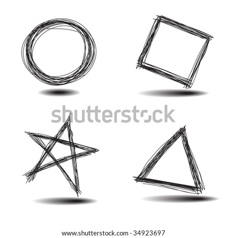 Raster - Illustration of a set of common hand drawn shapes, circle, square, star, triangle