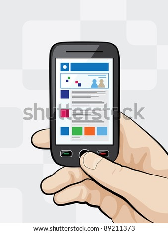 Raster illustration of a smart phone with mobile website on it`s display