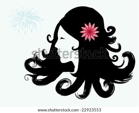 Raster illustration of a woman's head with black hair - stock photo