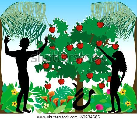 stock-photo-raster-illustration-of-adam-warning-eve-not-to-eat-the-forbidden-fruit-in-the-garden-of-eden-60934585.jpg