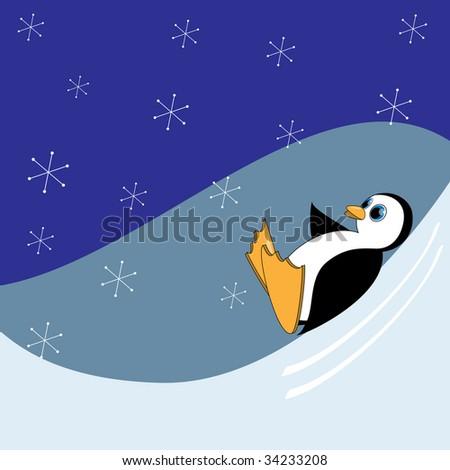 Raster illustration of cute cartoon penguin sledding.