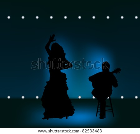 raster illustration of flamenco performance on the stage, vector version available