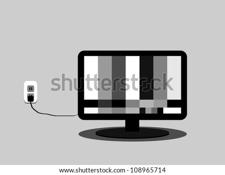 raster illustration of flat screen television with test pattern