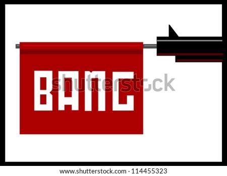raster illustration of gun barrel with bang flag