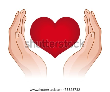 raster illustration of human hands with heart in it