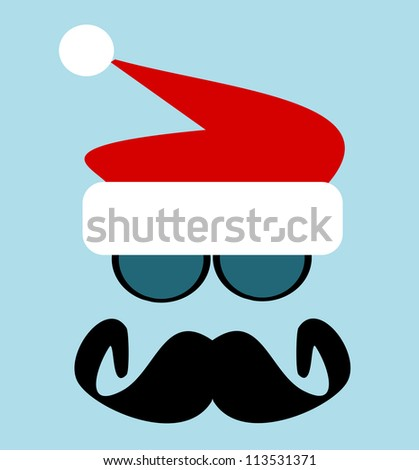 raster illustration of man with big black mustache and sunglasses wearing santa hat