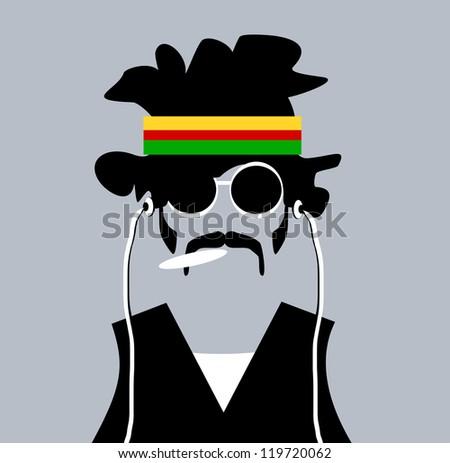 raster illustration of man with rastafarian headband and marijuana joint