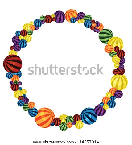 Raster  illustration of many colorful balls circle