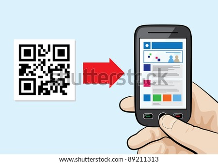 Raster Illustration of mobile phone in the male hand scanning qr code with website hyper link inside.
