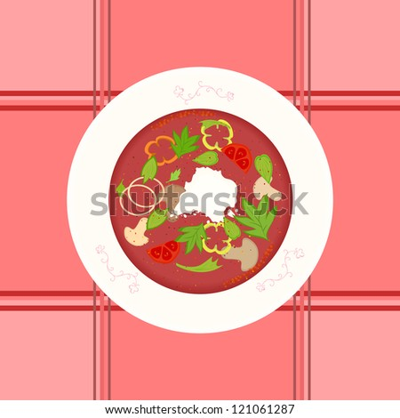 Raster illustration of mushroom and vegetable borsch soup in decorated plate.