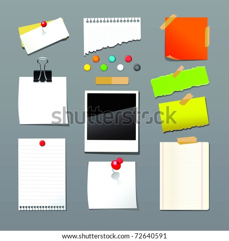 Raster illustration of push pin collection with set note papers.