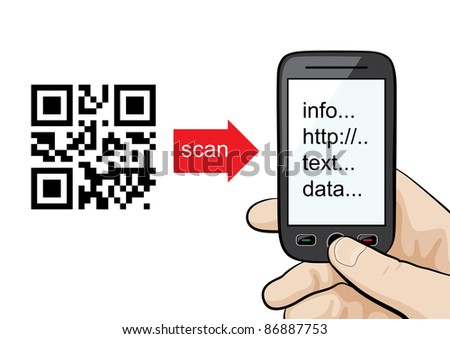 Raster illustration of QR codes scanning technology. Manual or concept - mobile phone in the male hand scanning qr code.