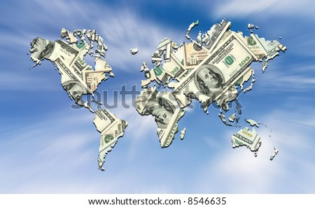 Raster illustration of the American dollar covering the world map. - stock photo