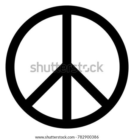 Raster illustration peace symbol, sign icon isolated on whi