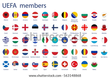 Raster illustration set, collection round flags of UEFA members. #563148868