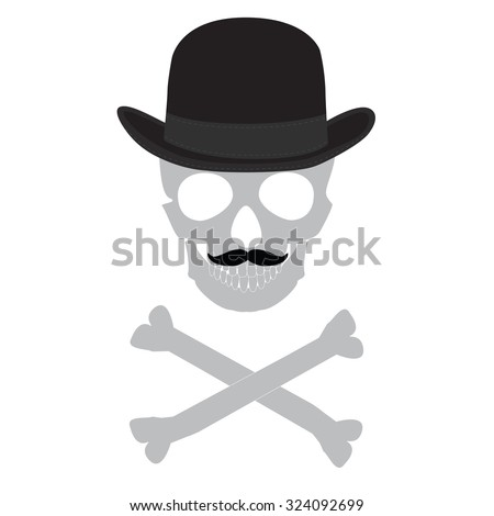 a2544bb0eeae2 raster illustration silhouette of skull with mustache