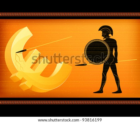 raster illustration symbolizing economical crisis in the European Union and Greek threat to stability of Euro currency