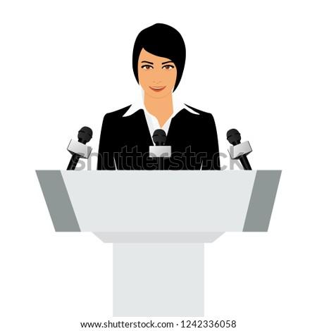 Raster illustration woman orator speaking from tribune. Business woman in black suit. Speaker person. Conference speaker. Podium speech. Speaker podium
