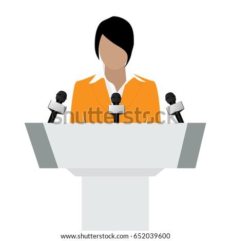 Raster illustration woman orator speaking from tribune. Business woman in orange suit. Speaker person. Conference speaker. Podium speech. Speaker podium