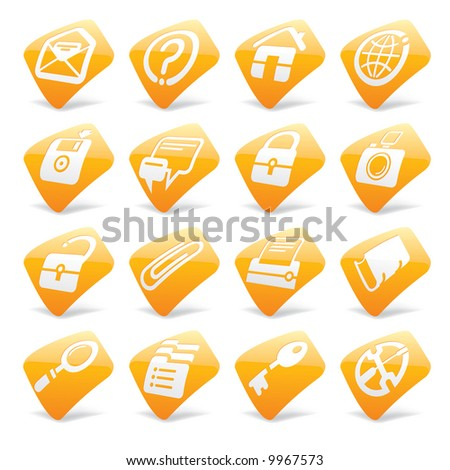 Raster isolated version of vector orange website and internet icons 1 (contain the Clipping Path)