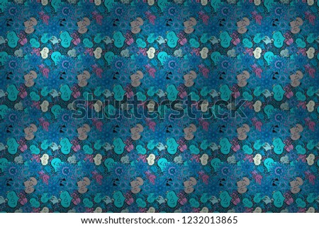 Raster. Love and happy designs. Seamless colorful boho pop art style. Summer style illustration with cute elements. Nice hearts love on blue, black and gray colors on cute background.