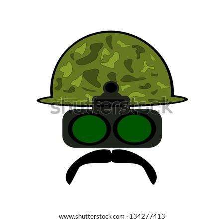 raster military man wearing night vision goggles - stock photo