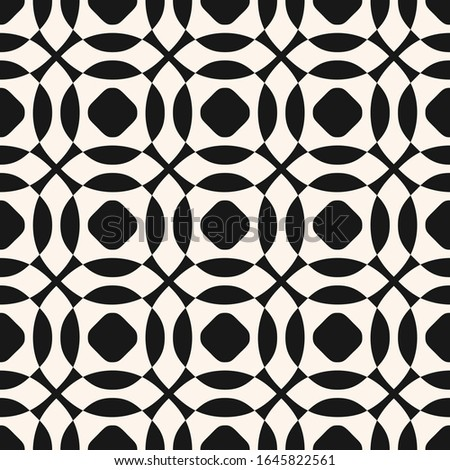 Raster monochrome geometric seamless pattern with curved shapes, circles, round grid, mesh, net, lattice, repeat tiles. Abstract black and white texture. Simple background. Repeated tileable design