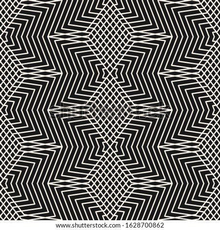 Raster monochrome geometric seamless pattern with stars, thin broken lines, zigzag, net, lattice. Simple black and white geometrical background. Abstract linear texture. Repeat tileable geo design