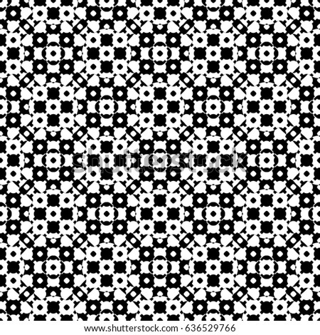 Raster monochrome seamless texture, black & white specular geometric pattern with simple rounded figures. Repeat tiles. Design element for printing, embossing, decor, textile, fabric, cloth, digital