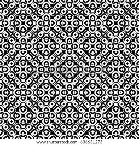 Raster monochrome seamless texture, specular geometric pattern, repeat tiles. Black & white overlay circles. Illusive optical effect. Design element for tileable print, decor, textile, digital, cover